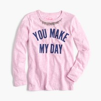 "Girls' ""you make my day"" necklace T-shirt"