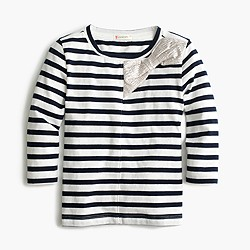 Girls' metallic bow striped T-shirt