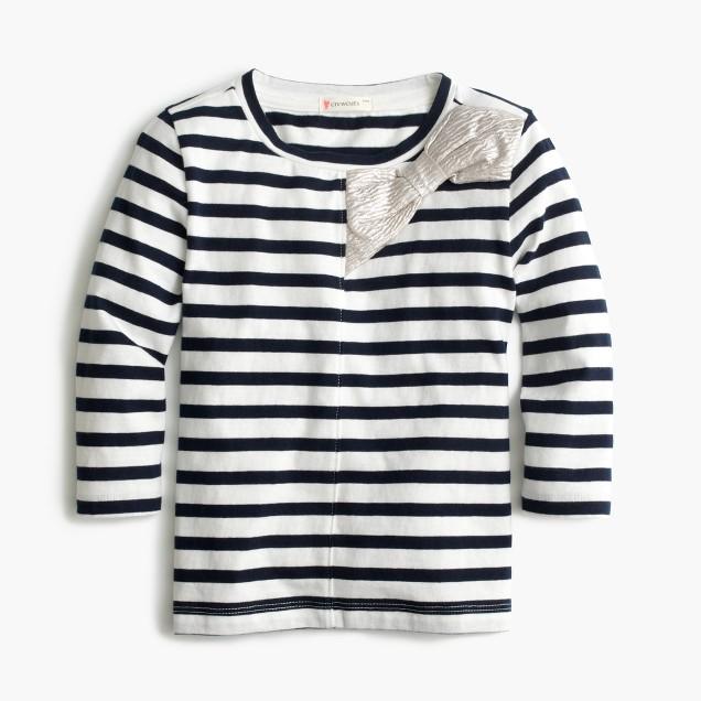 Girls' metallic bow striped T-shirt