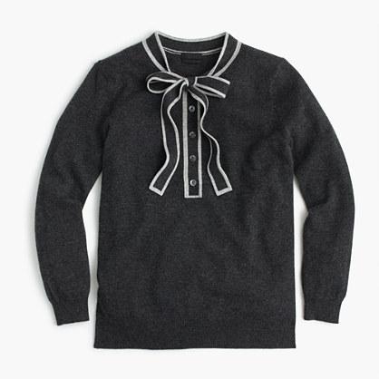 Italian cashmere tie-neck sweater