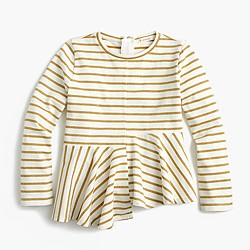Girls' glittery striped swingy T-shirt