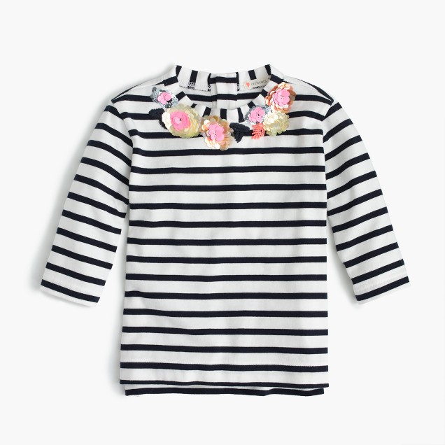 Girls' floral sequined striped necklace T-shirt