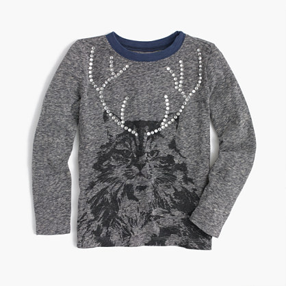 Girls' cat with antlers T-shirt