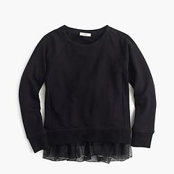 Girls' fleece sweatshirt with tulle hem