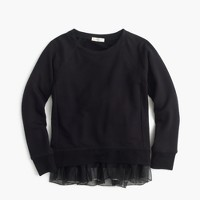 Girls' fleece sweatshirt with tulle hem