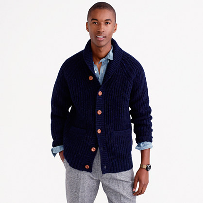 Shawl-collar cardigan in Donegal wool
