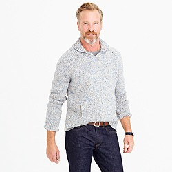 Shawl-collar sweater in Donegal wool