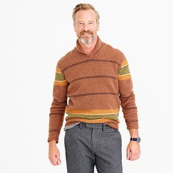 Lambswool shawl-collar sweater in blanket stripe