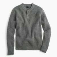 Lambswool thermal henley sweater