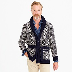 Belted shawl-collar cardigan sweater
