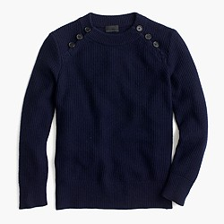 Italian cashmere waffle sweater with buttons