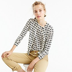 Lightweight wool Jackie cardigan sweater in bow print