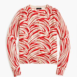Lightweight wool Jackie cardigan sweater in palm leaf print