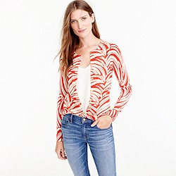 Lightweight wool Jackie cardigan sweater in palm leaf print