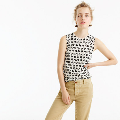 Lightweight wool Jackie sweater shell in bow print