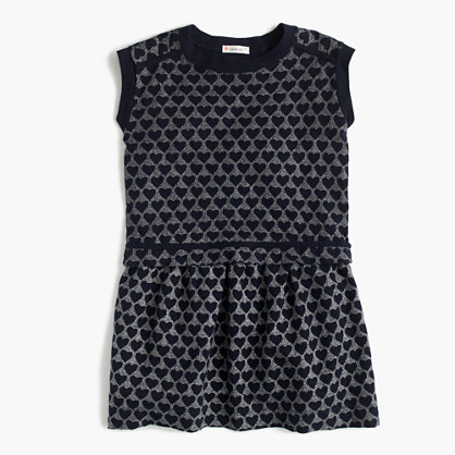 Girls' tiered dress in metallic heart print