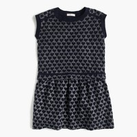 Girls' tiered dress in metallic heart print