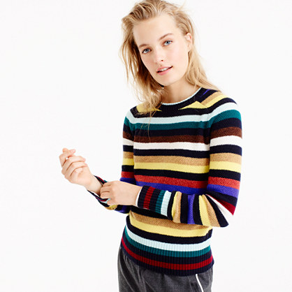 Supersoft wool sweater in multistripe