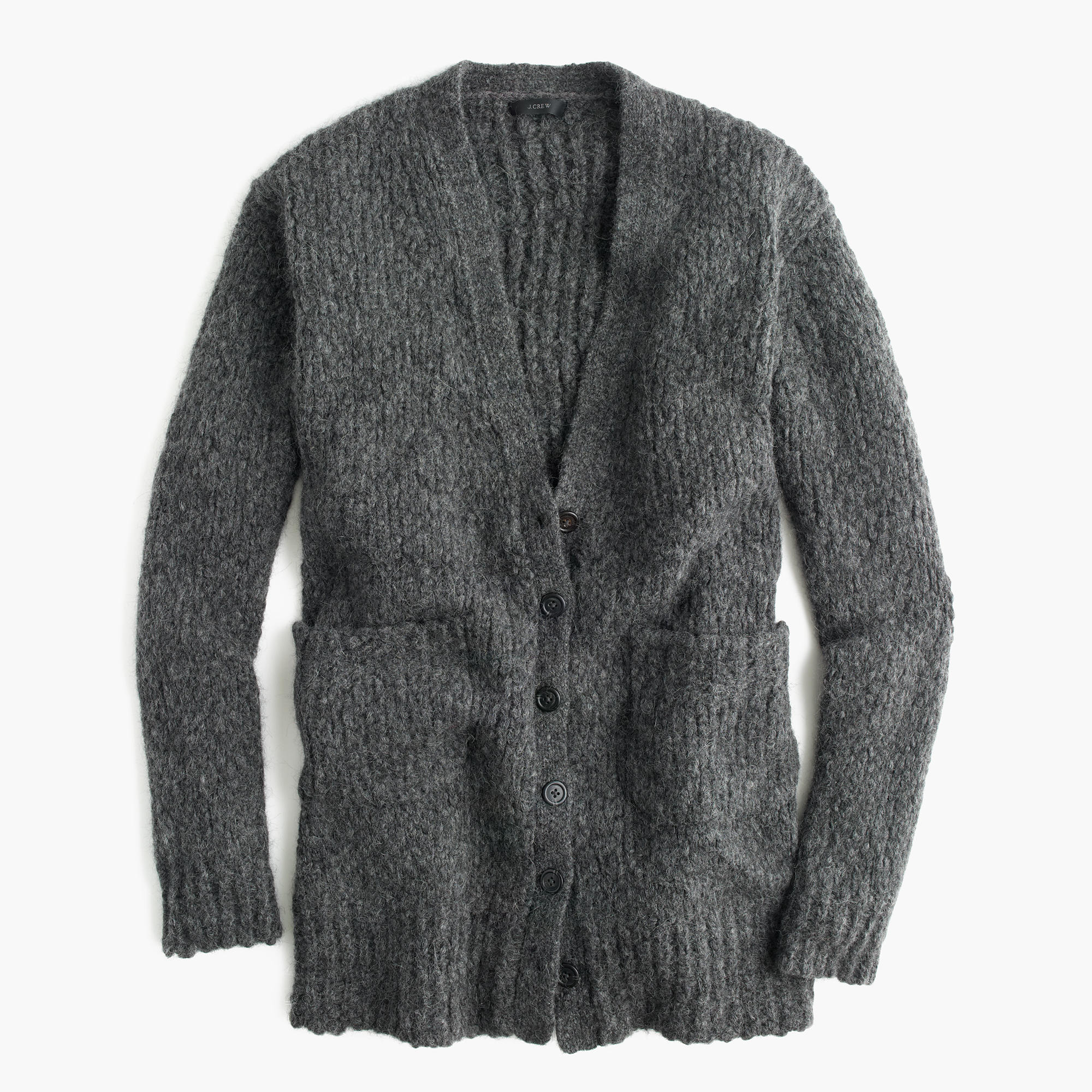 Collection Rib-Trim Cardigan Sweater In Merino Wool Blend ...
