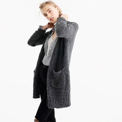 Collection rib-trim cardigan sweater in merino wool blend
