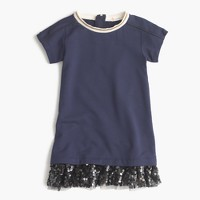 Girl's knit dress with sequin hem