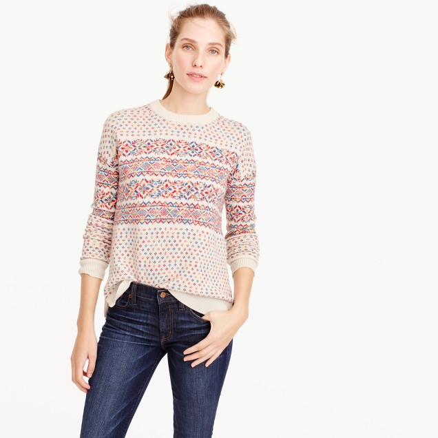 Colorful Fair Isle crewneck sweater