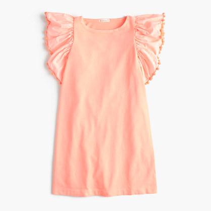 Girls' flutter-sleeve pom-pom dress