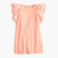 Girls' flutter-sleeve pom-pom dress