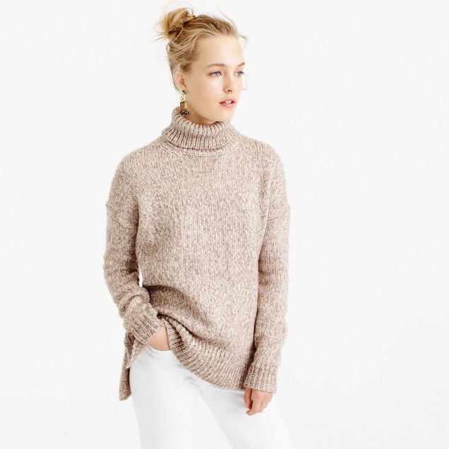 Marled Italian wool blend turtleneck sweater