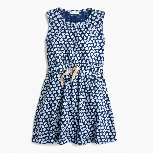 Girls' allover heart-print dress