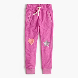 Girls' lined sweatpant with sequin heart and star patches