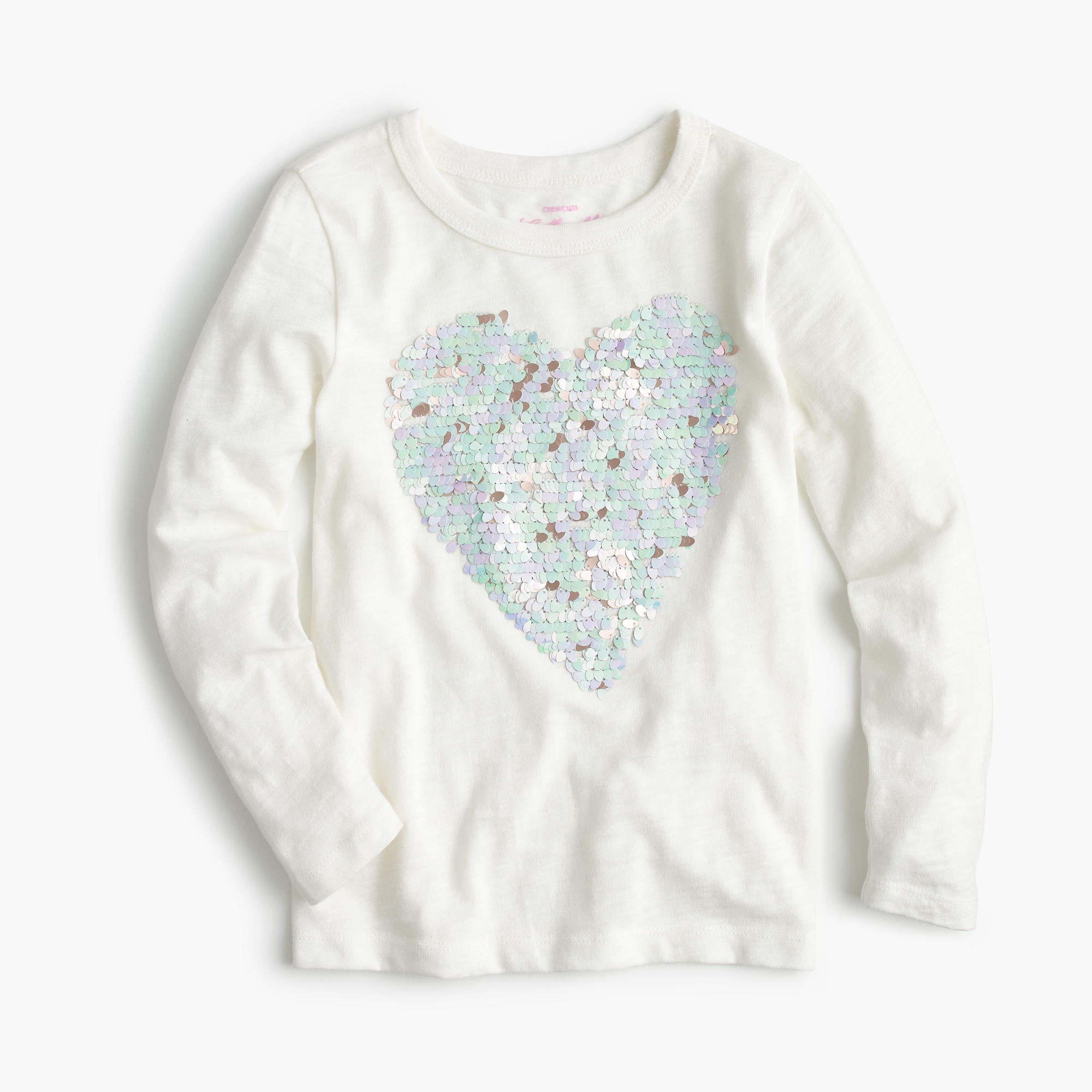 Girls 39 sequin heart t shirt girls 39 tees j crew for Girls sequin t shirt