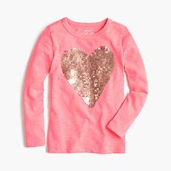 Girls' sequin heart T-shirt