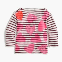Girls' tossed hearts striped T-shirt