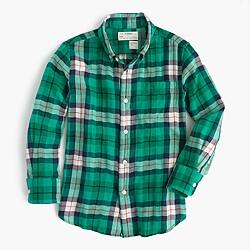 Kids' lightweight flannel shirt in emerald plaid