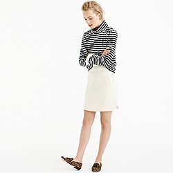 Petite mini skirt in double-serge wool