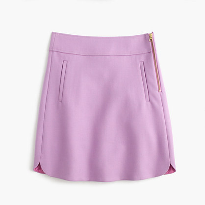 Petite mini skirt in double-serge wool