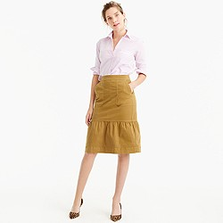 Garment-dyed chino ruffle skirt