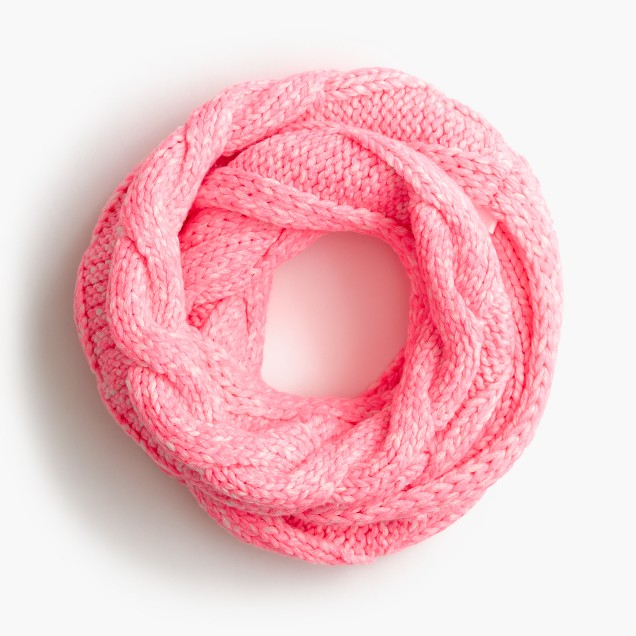 Girls' cable-knit neon infinity scarf