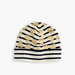 Girls' striped metallic heart beanie hat
