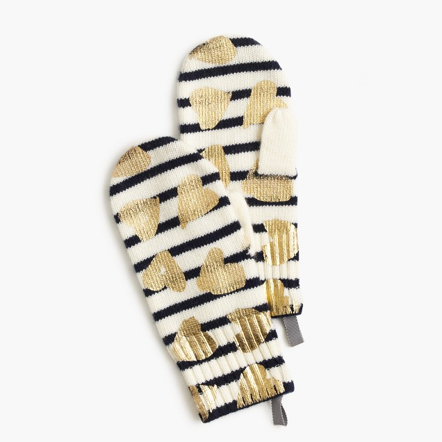 Girls' striped metallic heart mittens