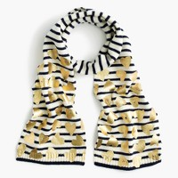 Girls' striped metallic heart scarf