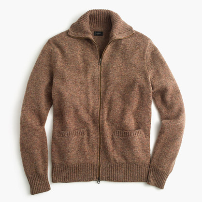 Lambswool full-zip sweater