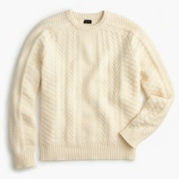 Wool cable crewneck sweater in ivory