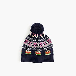 Girls' Fair Isle beanie hat in navy