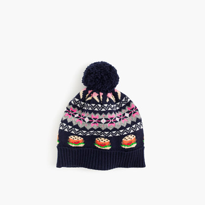 Girls' food Fair Isle beanie hat in navy