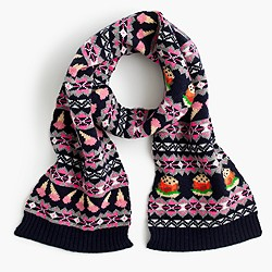 Girls' food Fair Isle scarf in navy