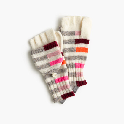 Girls' mixed-stripe glittens