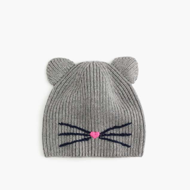 Girls' kitty whiskers beanie hat