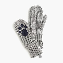 Girls' ribbed kitty cat mittens